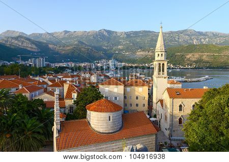 Top View Of Old Town And Cathedral Of St. John Baptist, Budva, Montenegro