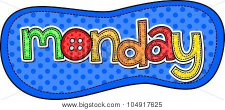 Monday Stitch Text Label