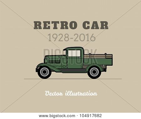 Retro pickup, truck car, vintage collection