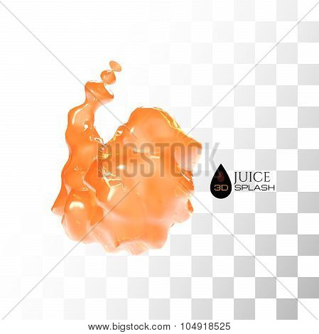 Orange 3D juice splash isolated on white
