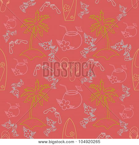 Hawaii cocktail seamless pattern beach red color
