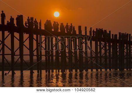 Asia Myanmar Mandalay Amarapura U Bein Bridge