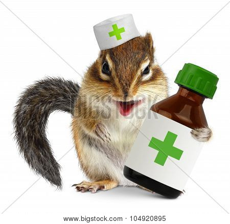 Vet Concept, Funny Squirrel Doc Hold Bottle Medications, On White Background
