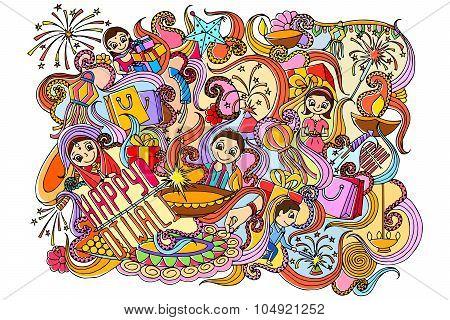 Happy Diwali doddle drawing