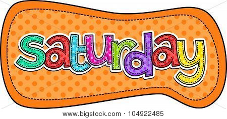 Saturday Stitch Text Label