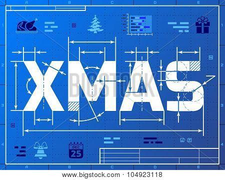 Word Xmas Like Blueprint Drawing