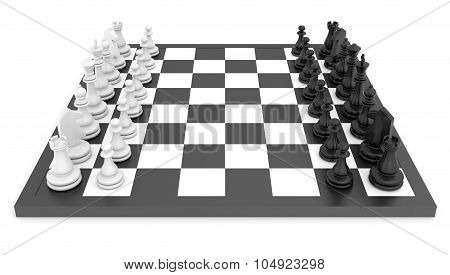 Chess pieces standing on black white chessboard