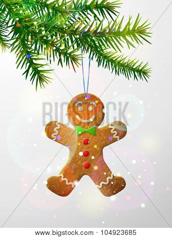 Christmas Tree Branch With Decorative Cookie