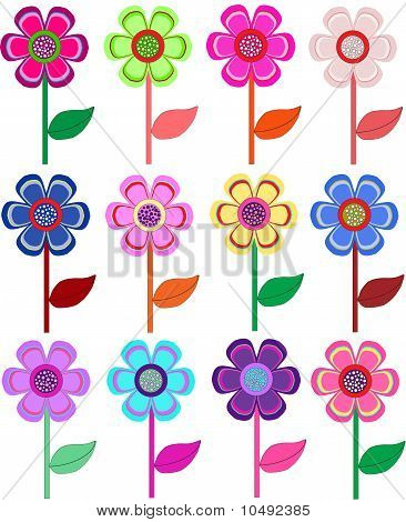 Set of flowers in different shapes, color.