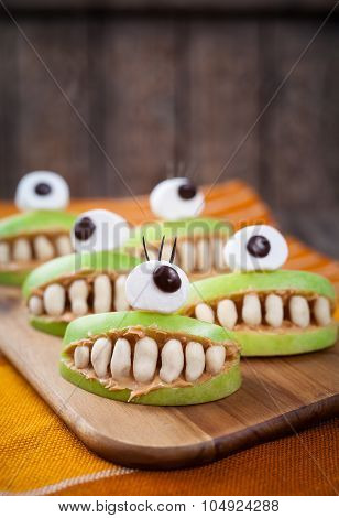 Scary halloween food monsters healthy natural snack sweets for party decoration recipe. Homemade spo