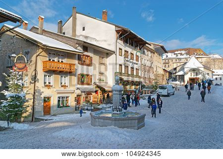 View Of The Main Street In The Swiss Village Gruyeres