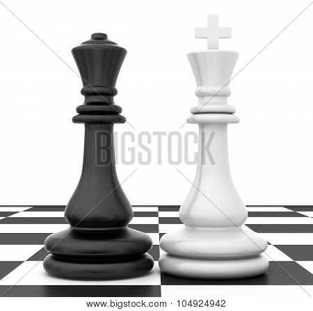 The two figures standing beside on chessboard