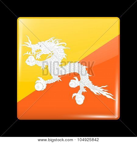 Bhutan Variant First Flag. Glassy Icon Square Shape