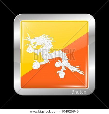 Bhutan Variant First Flag. Metalic Icon Square Shape