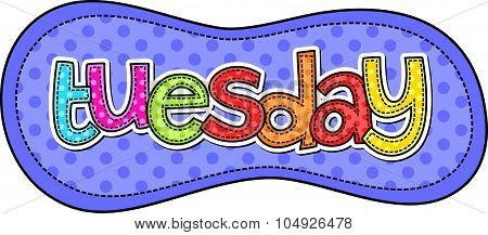 Tuesday Stitch Text Label