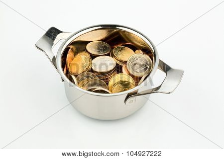 a cooking pot, to h�¤fte filled with euro coins photo icon for sovereign debt and financial requirements