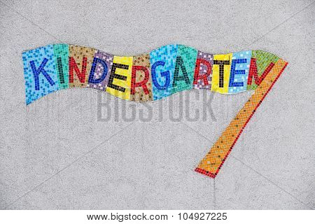 kindergarten colorful sign, symbol for childcare and child-friendliness