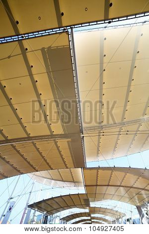 Milan, Italy - 8Th September, 2015. Expo Milan 2015. Cover With Fabrics And Steel Poles