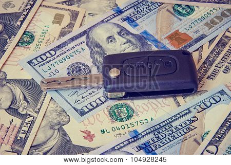 Car Key On A Background Of Dollars