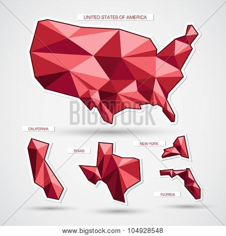 Red geometrical united states of america map