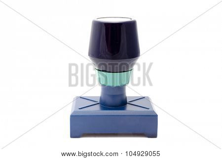 Blue rubber stamp isolated on white background