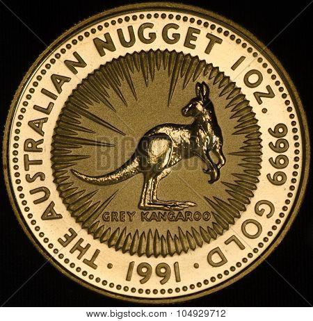 Australian Gold Coin On Black Background