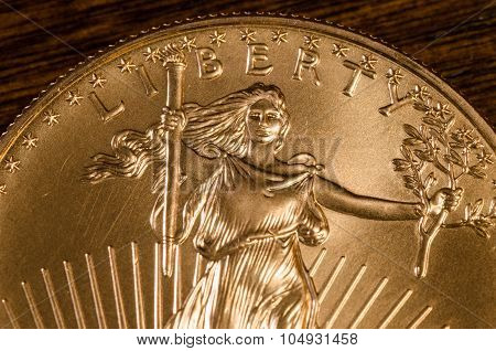 Liberity (word) On United States Walking Liberty Gold Coin