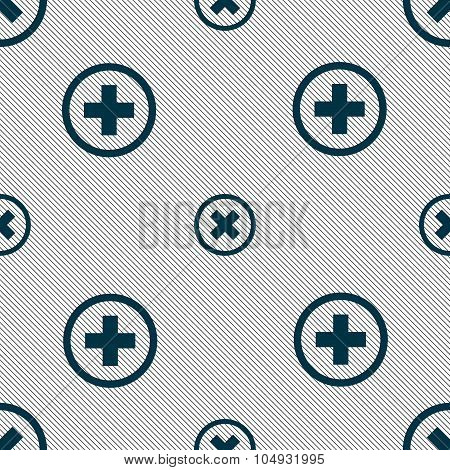 Cancel Icon. No Sign. Seamless Pattern With Geometric Texture. Vector
