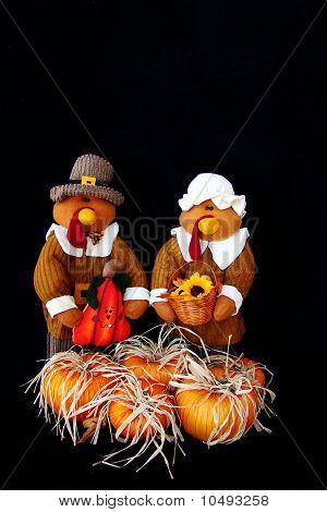 Turkeys dressed like Pilgrims