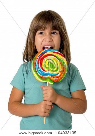 Child Eating Big Lollipop Candy Isolated On White Background In Children Love Sweet Sugar Concept An