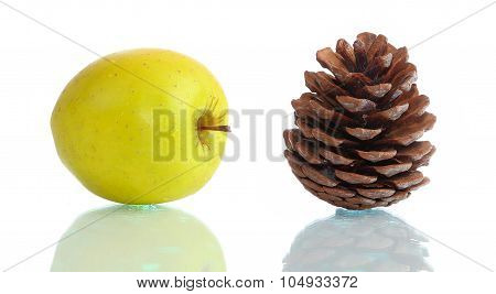 Golden Apple And Big Cone On Glass Surface Isolated