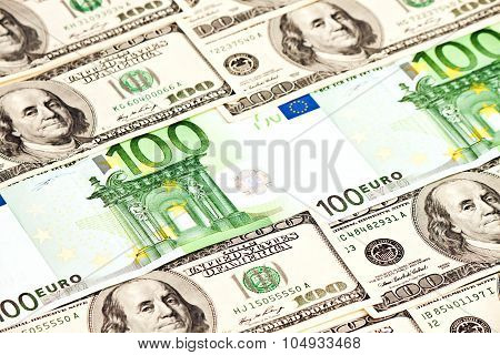 A Heap Of Dollars And Euro Notes