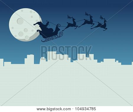 New Year card with Santa Claus flying in sleigh on background of the moon above the night city. Vect