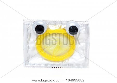 Standard pack of condoms with googly eyes