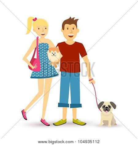 Happy Young Couple Walking Pet Dog Illustration