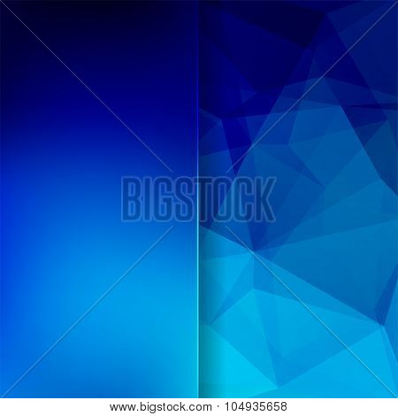 Abstract Background Consisting Of Blue Triangles And Matt  Glass