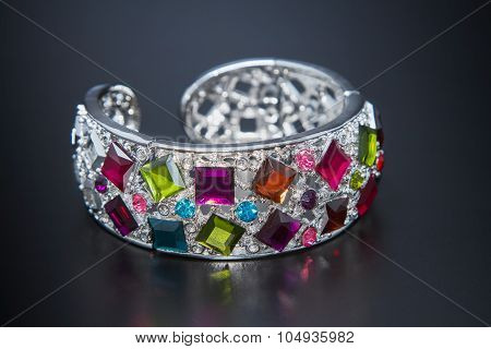 Multicolor Gem Bracelet On Black Background