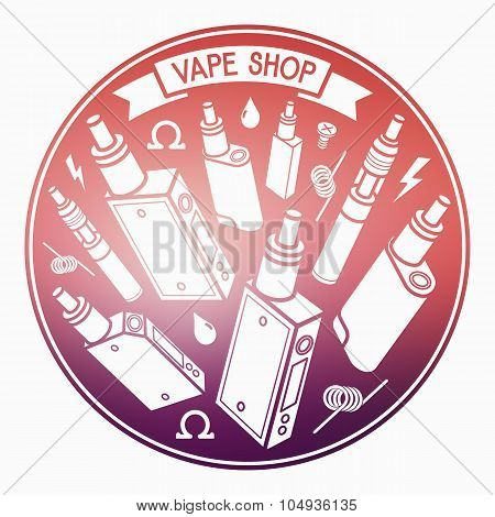 Vector Illustration Of Vape On Blurred Background