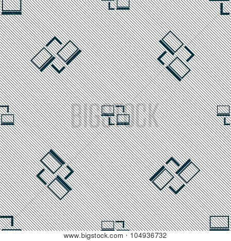 Synchronization Sign Icon. Notebooks Sync Symbol. Data Exchange. Seamless Pattern With Geometric Tex
