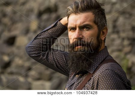 Stylish Bearded Man Outdoor