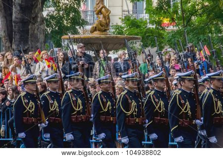 Spanish Troops Marching In A Military Parade