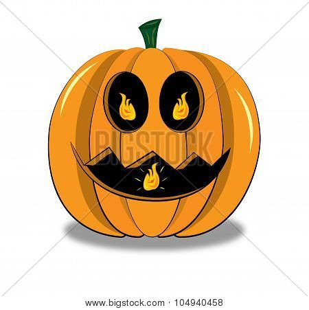 Halloween Pumpkin With Fire In Eyes