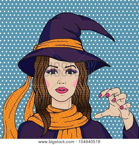 Cute Retro Witch In Purple Costume And Orange Scarf On Blue Polka Dot Background, Vector Halloween