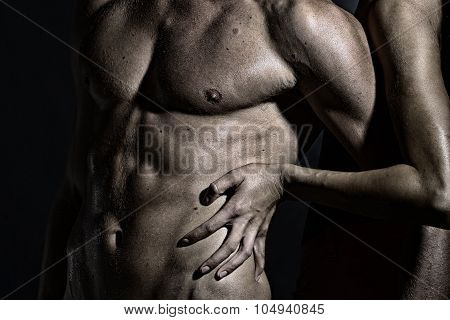 Female Hands Touching Male Body