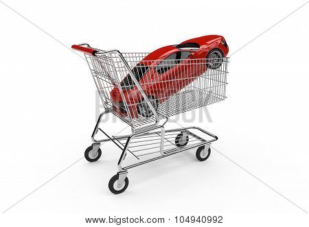 Red Luxury Sports Car In A Shopping Basket
