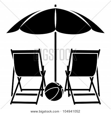 Beach Umbrella And Deck Chairs