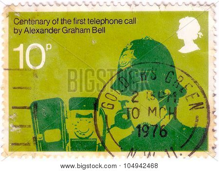 United Kingdom - Circa 1976: A Stamp Printed In Great Britain Dedicated To Centenary Of First Teleph