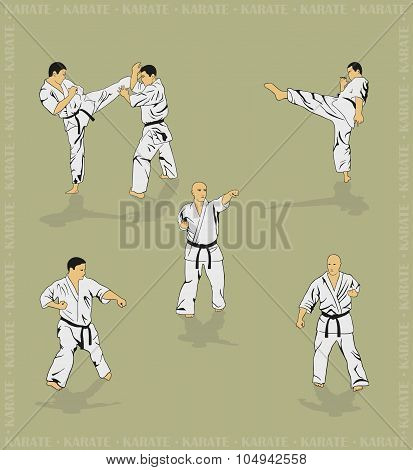 Set Of The Men Showing Karate.