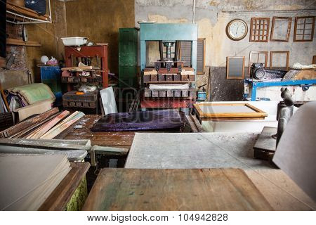 Interior of paper factory with tools