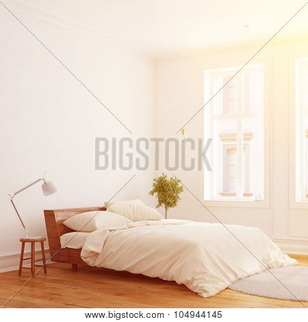Sunny bedroom with bed in Berlin in an old apartment (3D Rendering)